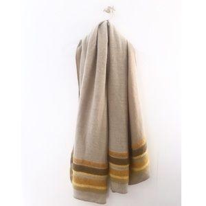 zara / striped beige orange large scarf winter